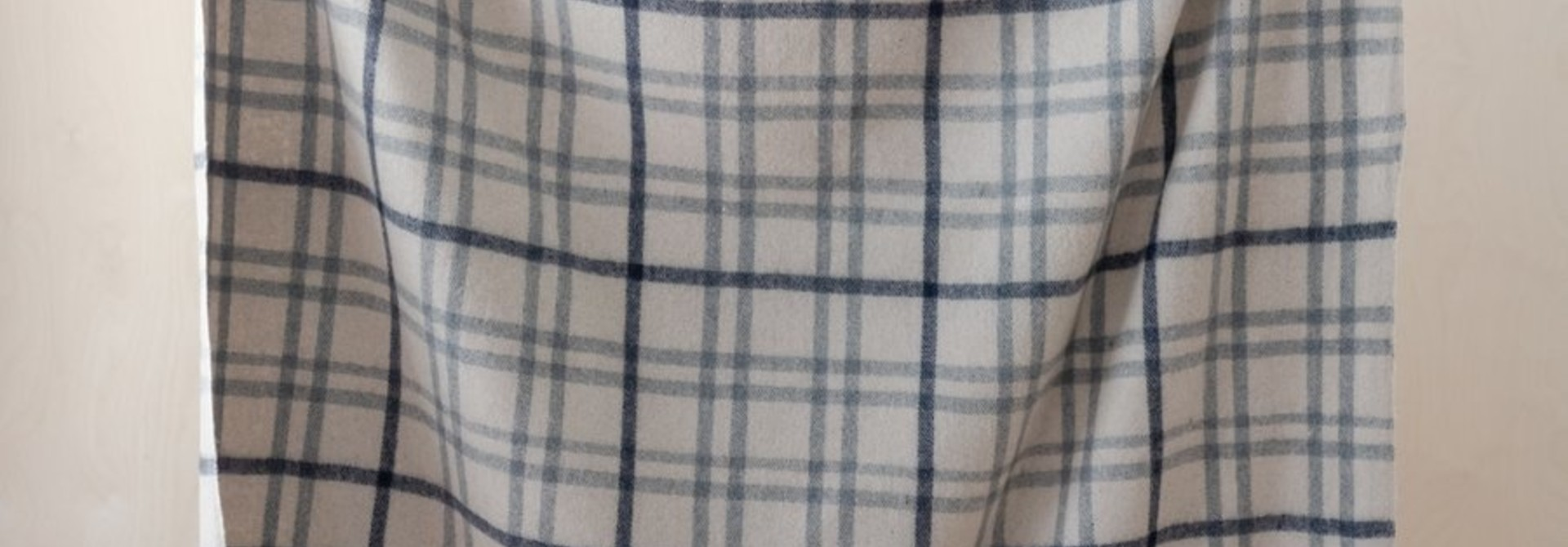 Recycled Wool Blanket - Light Grey Check