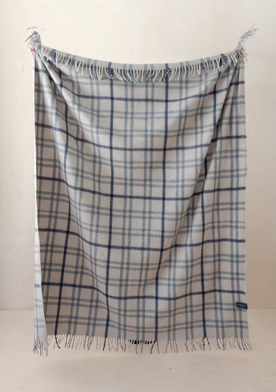 Recycled Wool Blanket - Light Grey Check-1