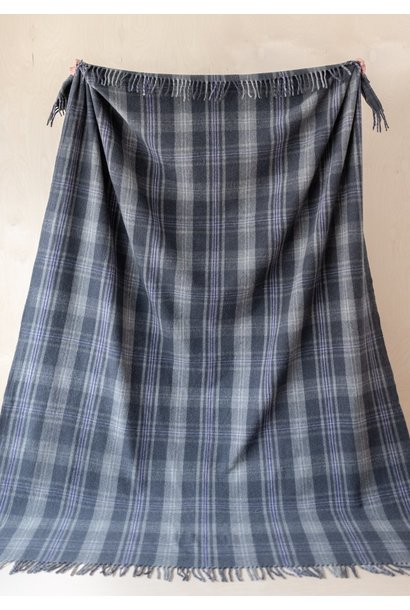 Recycled Wool King Size Blanket - Flint Grey Tartan