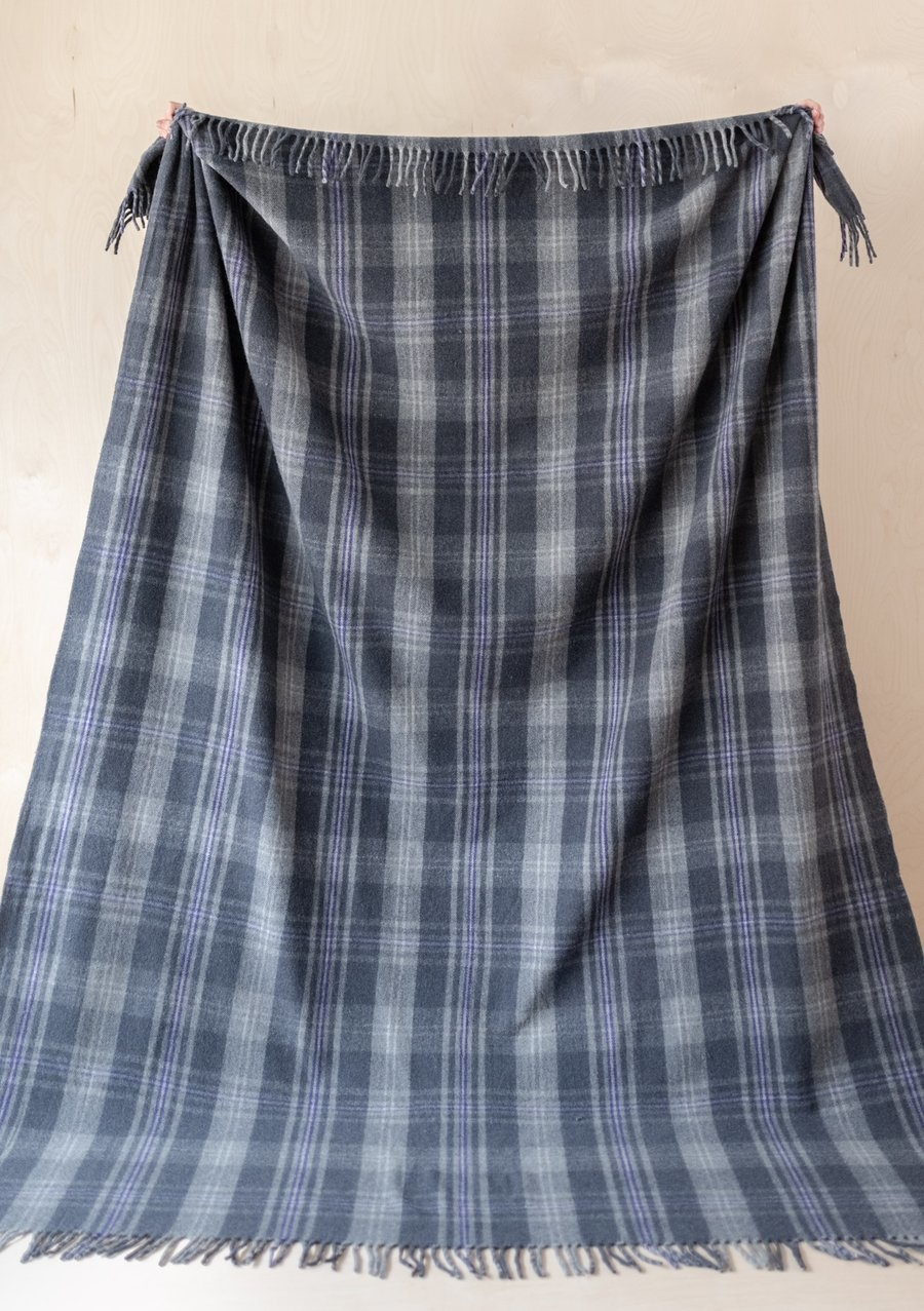 Recycled Wool King Size Blanket - Flint Grey Tartan-1