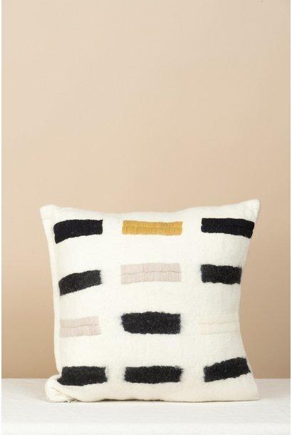 Cushion - Grid -  Cream/Blk/ Yellow
