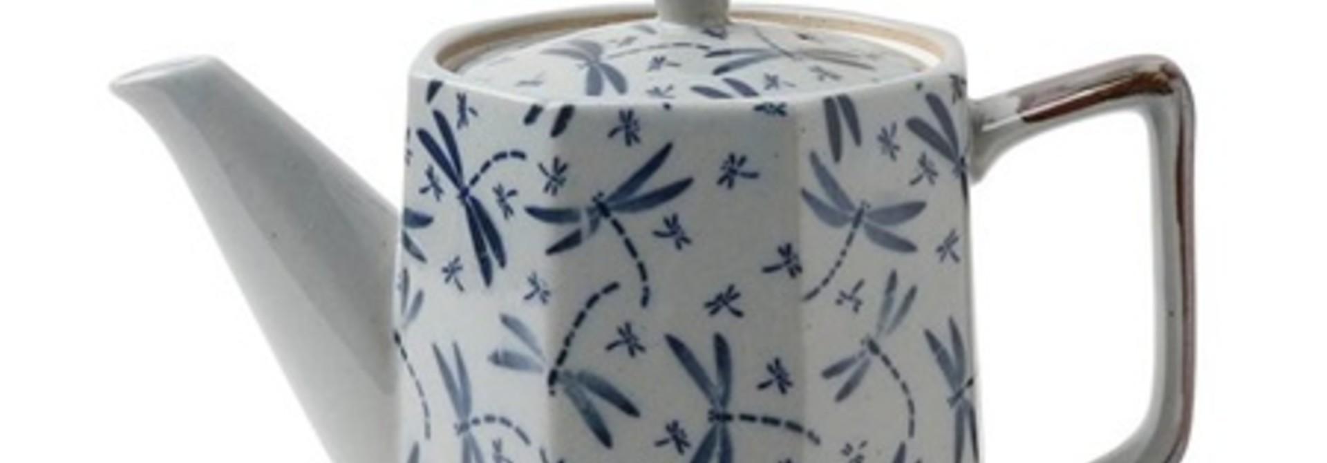 Blue Vintage Dragonflies - Tea Pot