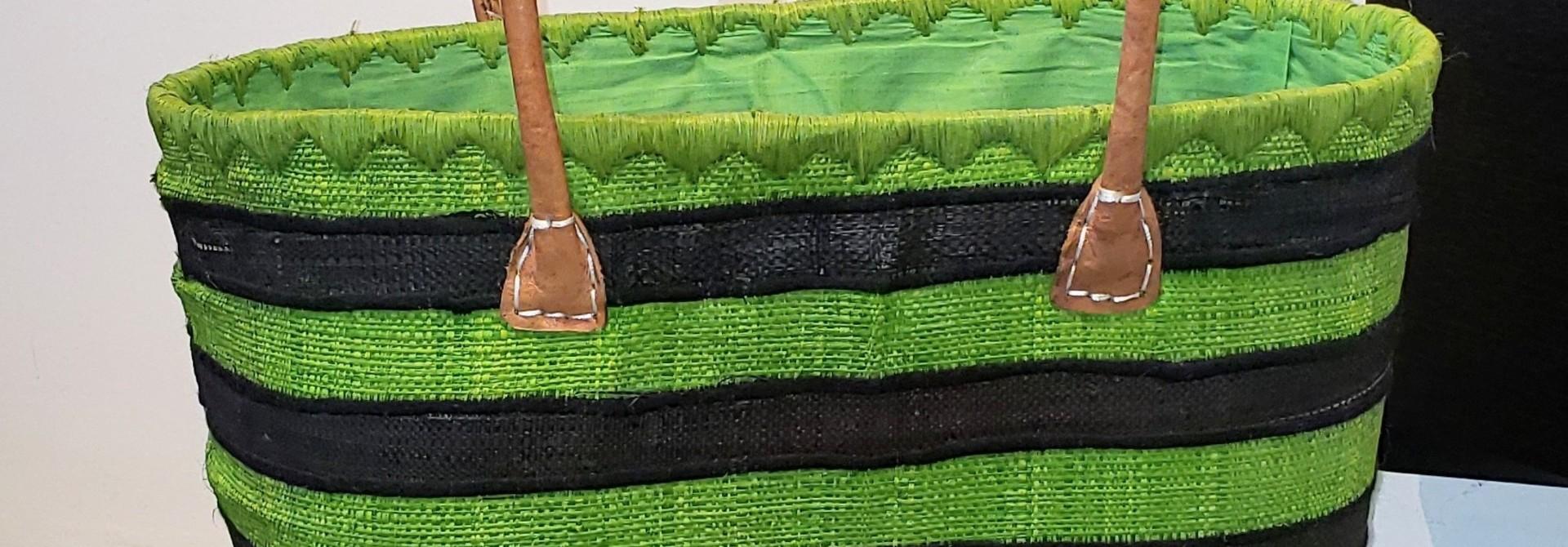 Market Tote - Green Stripe