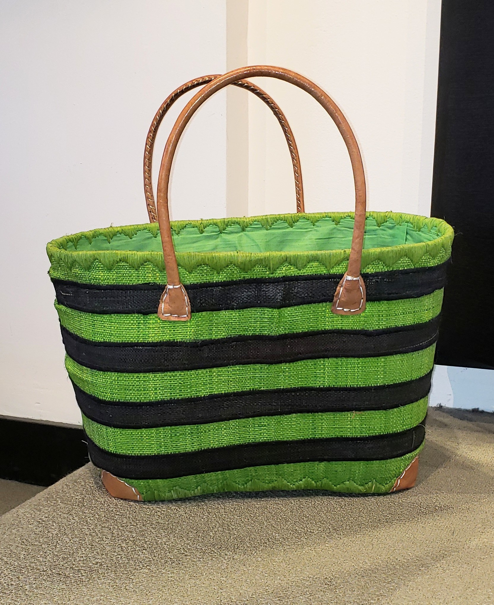 Market Tote - Green Stripe-1