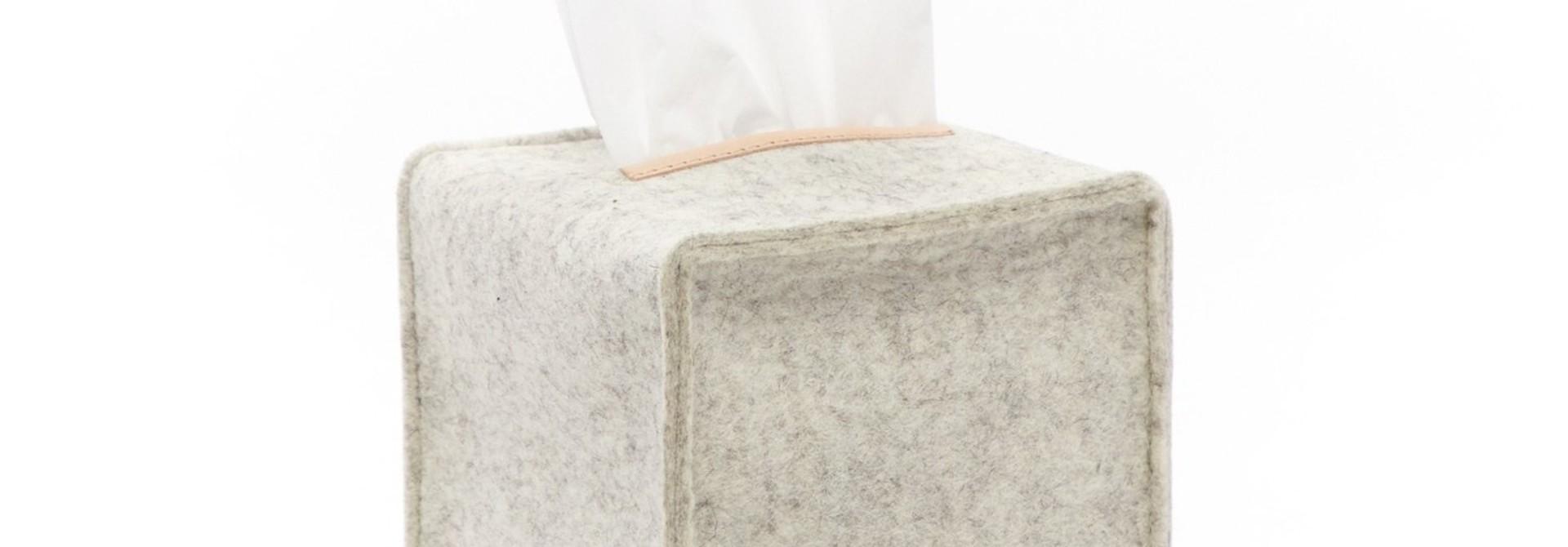 Felt Tissue Sq Box Small - Heather White