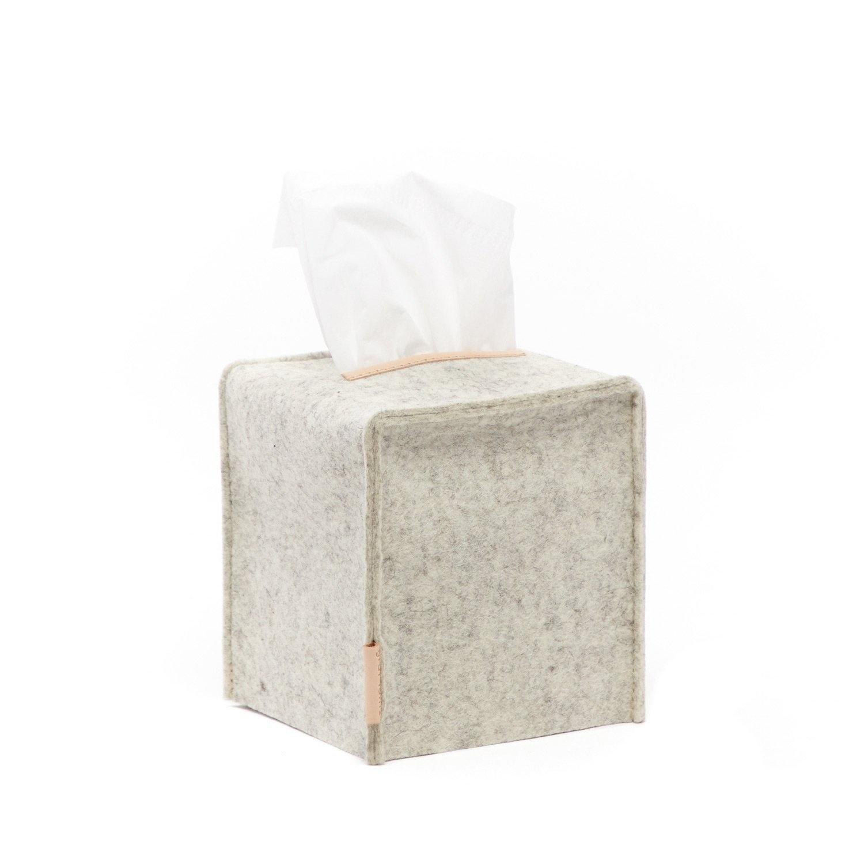 Felt Tissue Sq Box Small - Heather White-1