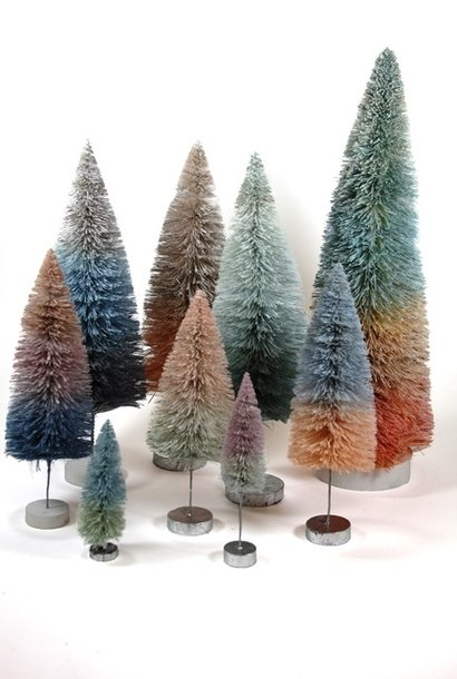 GRADIENT PINK & BLUE TREES SET of 9