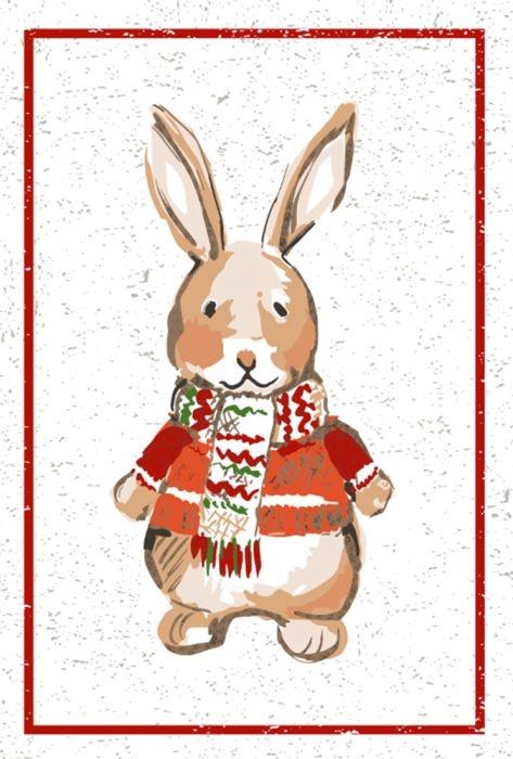 Tea Towel - Holiday Bunny - Set of 2-1