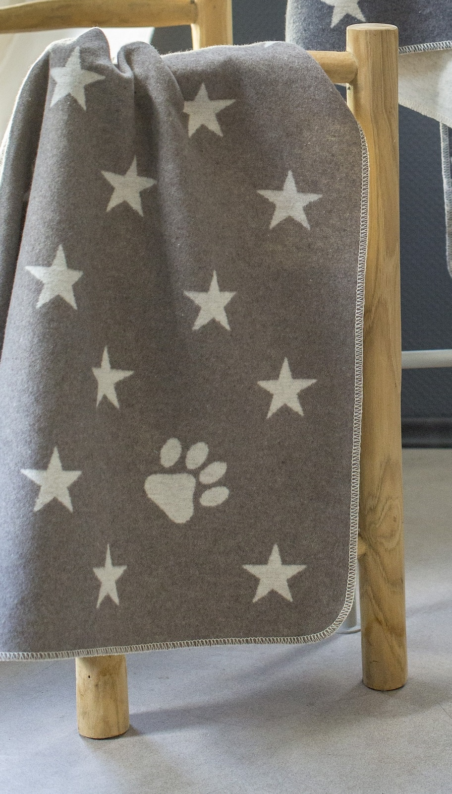 Blanket - Stars/Paw Print - Smoke-1