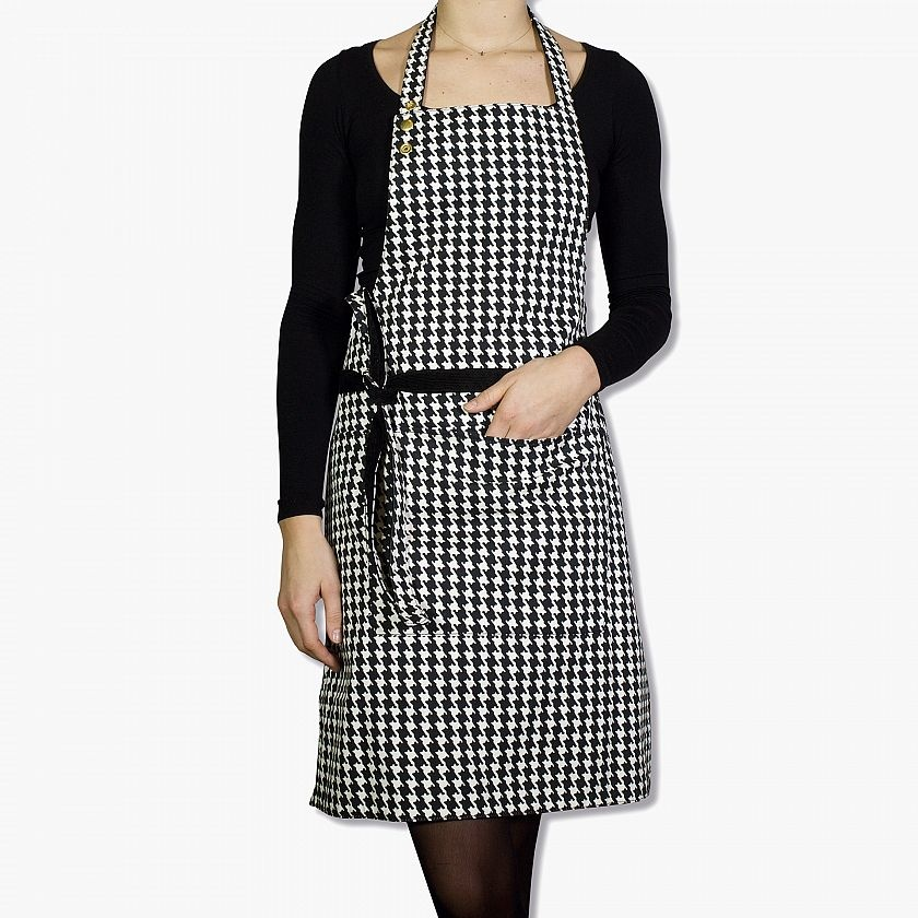 Reversible Apron - Black/ Houndtooth-2