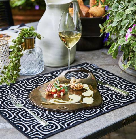Ceramic Serving Plate -Ted - Platinum - Lge-2