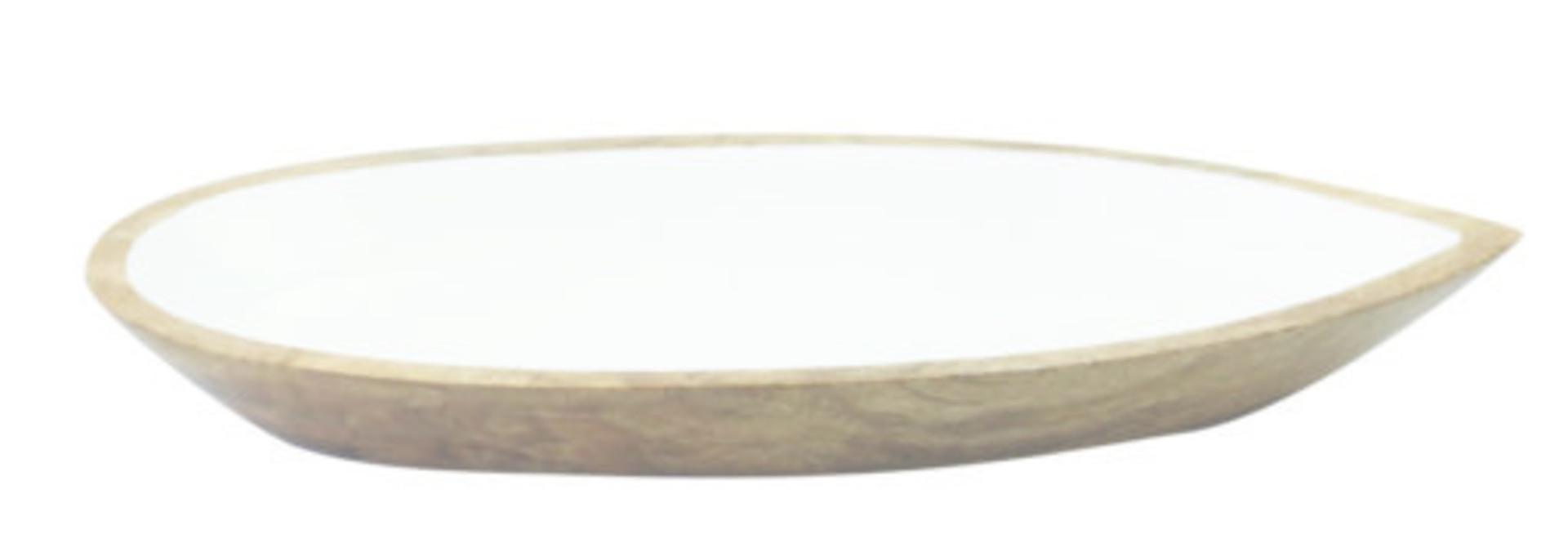 Mango Wood & White Enamel Oval Dish - Sm