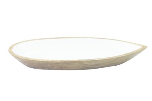 Mango Wood & White Enamel Oval Dish - Sm-1