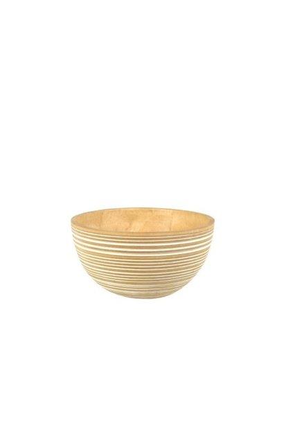 White Striped Mango Wood Bowl -  Med