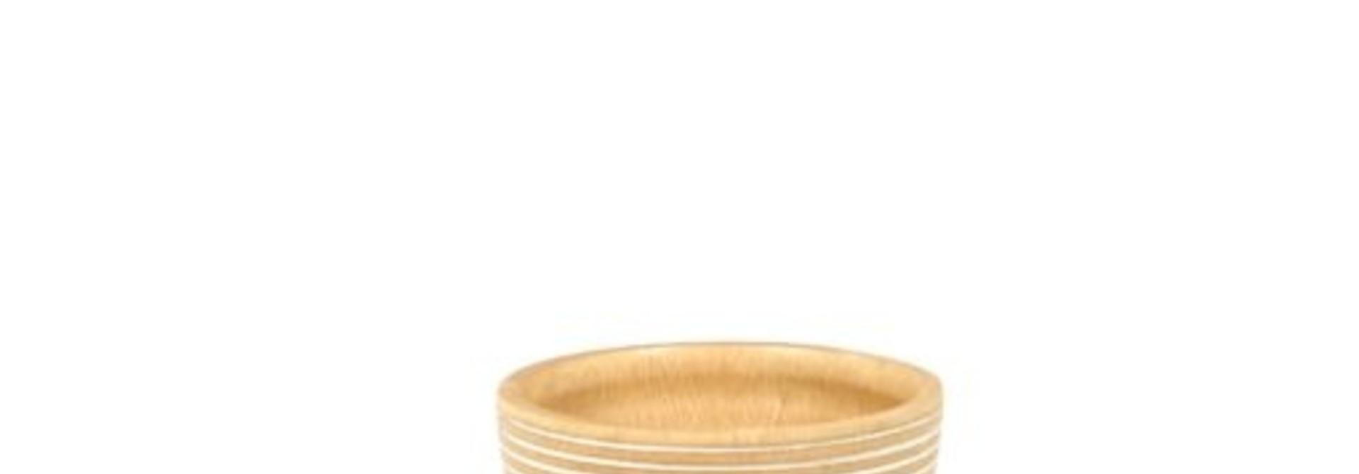 White Striped Mango Wood Bowl - Small