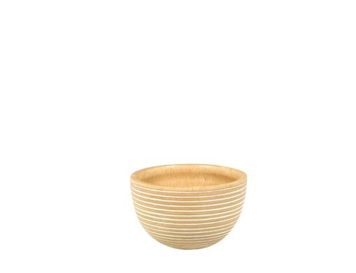 White Striped Mango Wood Bowl - Small-1
