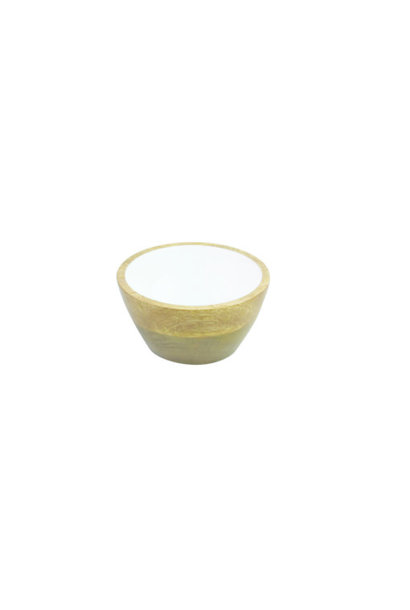 Mango Wood and White Enamel Bowl - Small