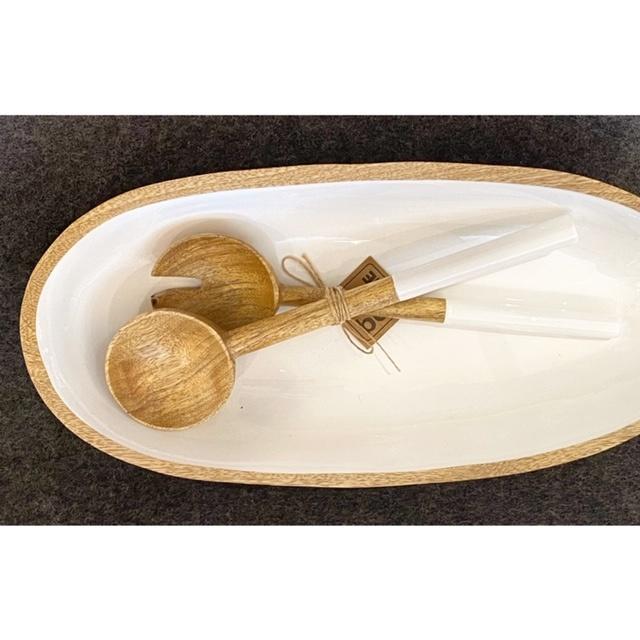 Mango Wood & White Enamel Oval Dish - Sm-2