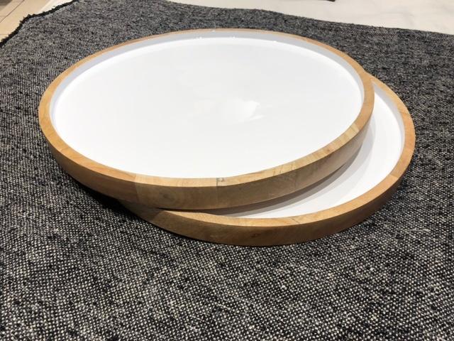 Mango Wood & White Enamel Round Platter-3