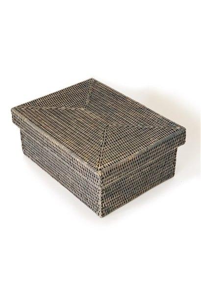 Rectangular Storage Basket w/lid - Grey Wash - Sm