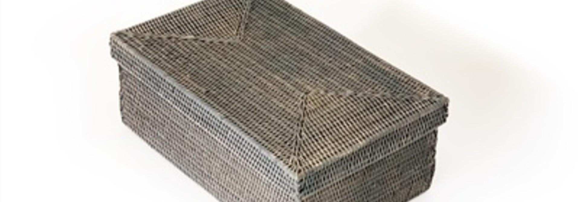 Rectangular Storage Basket w/lid - Grey Wash - Lg