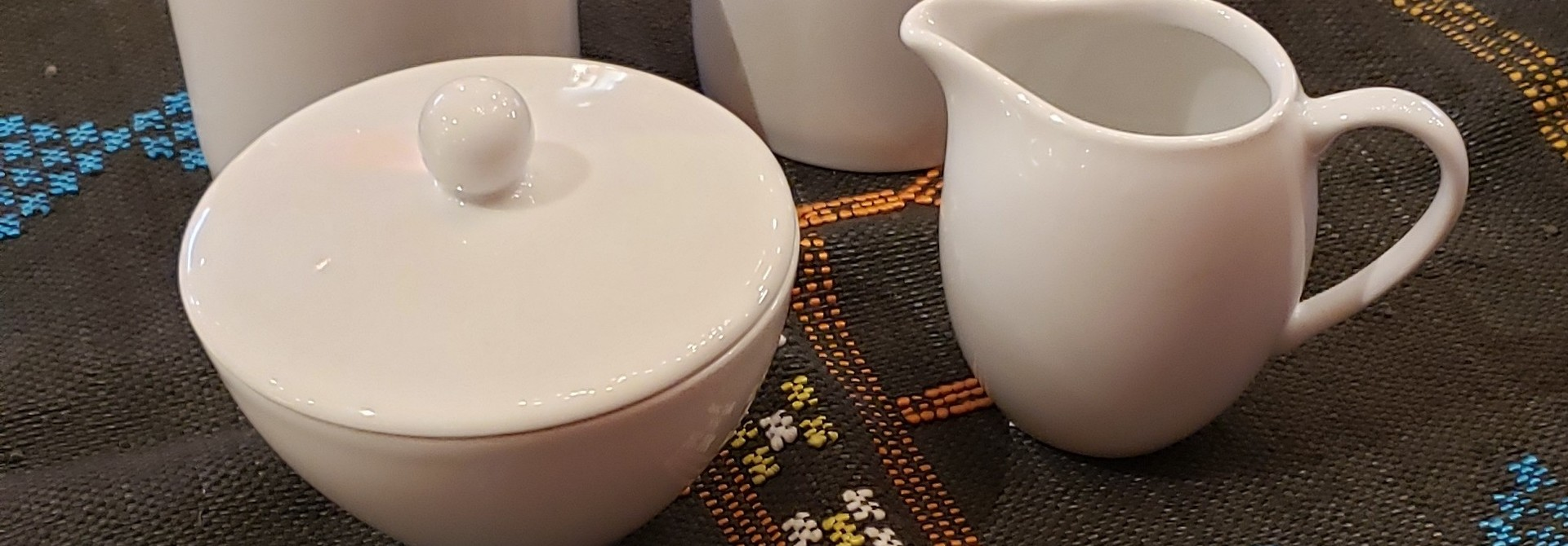 Sugar Bowl, creamer & 2 mugs