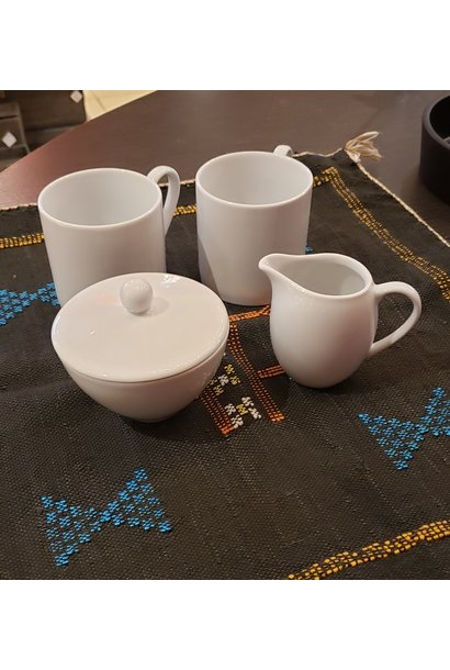 Sugar Bowl, creamer & 2 mugs