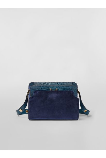 Shoulder Bag - Navy Velvet/Green