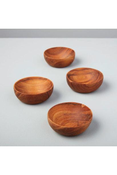 Teak Mini Round Bowls - Set of 4