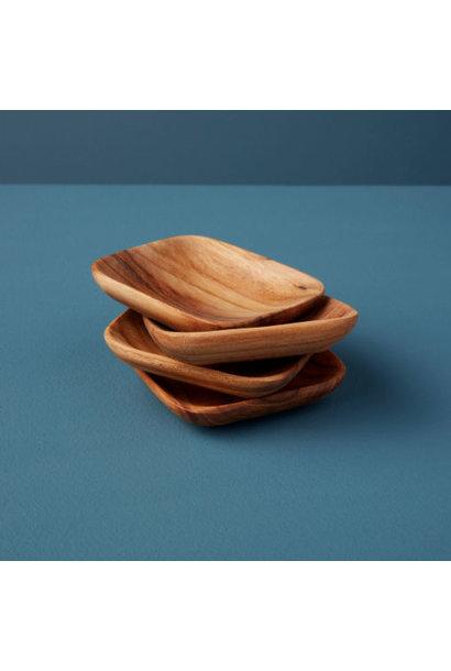 Teak Mini Square Bowls -  Set of 4