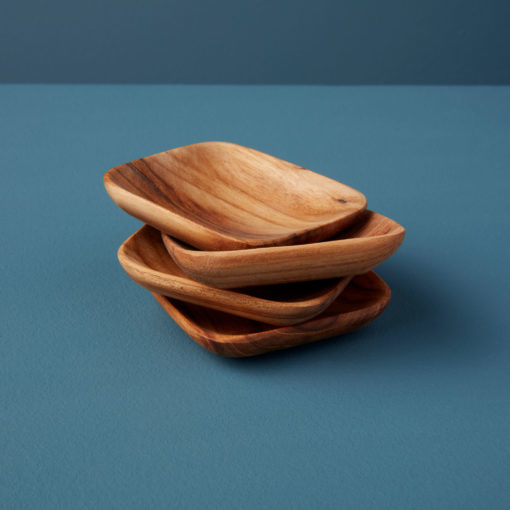 Teak Mini Square Bowls -  Set of 4-1
