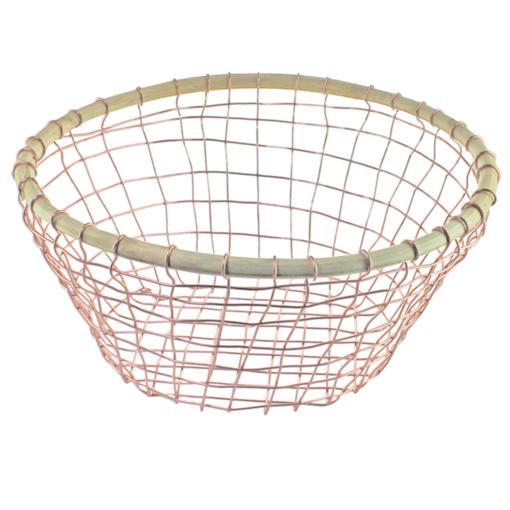 Copper Wire & Cane Round Basket-1