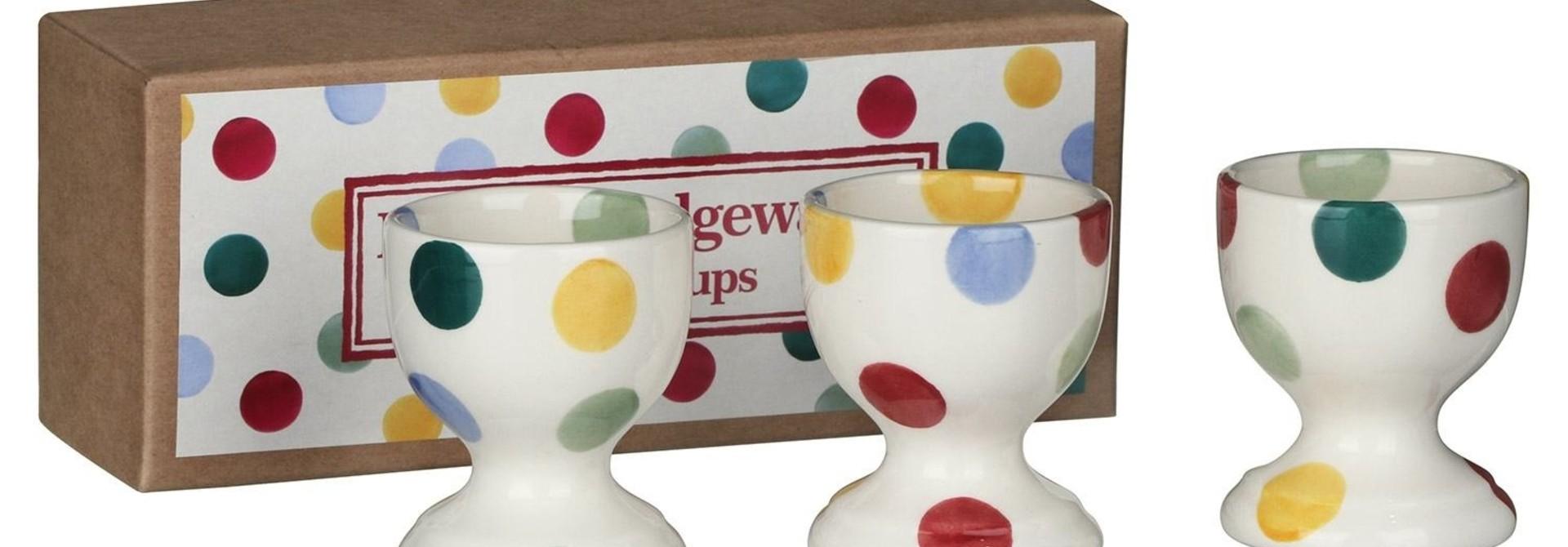 Polka Dot Set Of 3 Egg Cups - Boxed