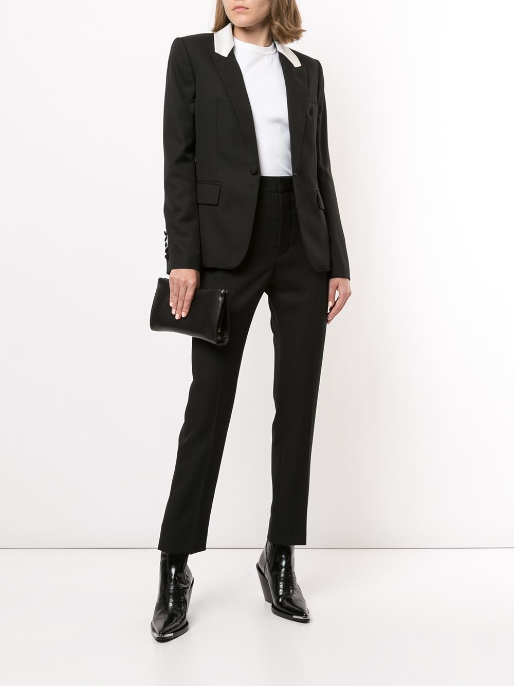 Contrasting lapels fitted blazer - Sz 38-3