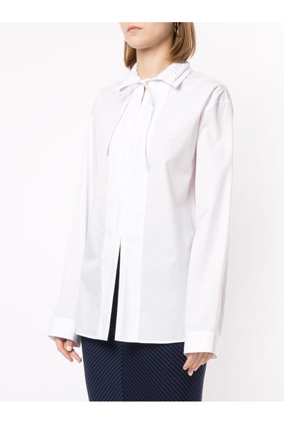Braided Collar Shirt - White - Sz 38