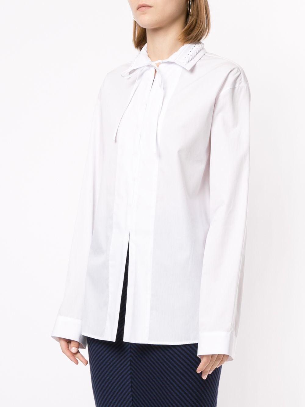 Braided Collar Shirt - White - Sz 38-1