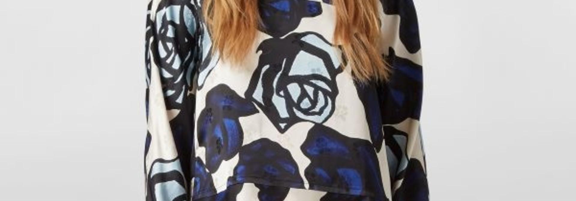 Blouse - Blu/Blk Rose - Sz 42