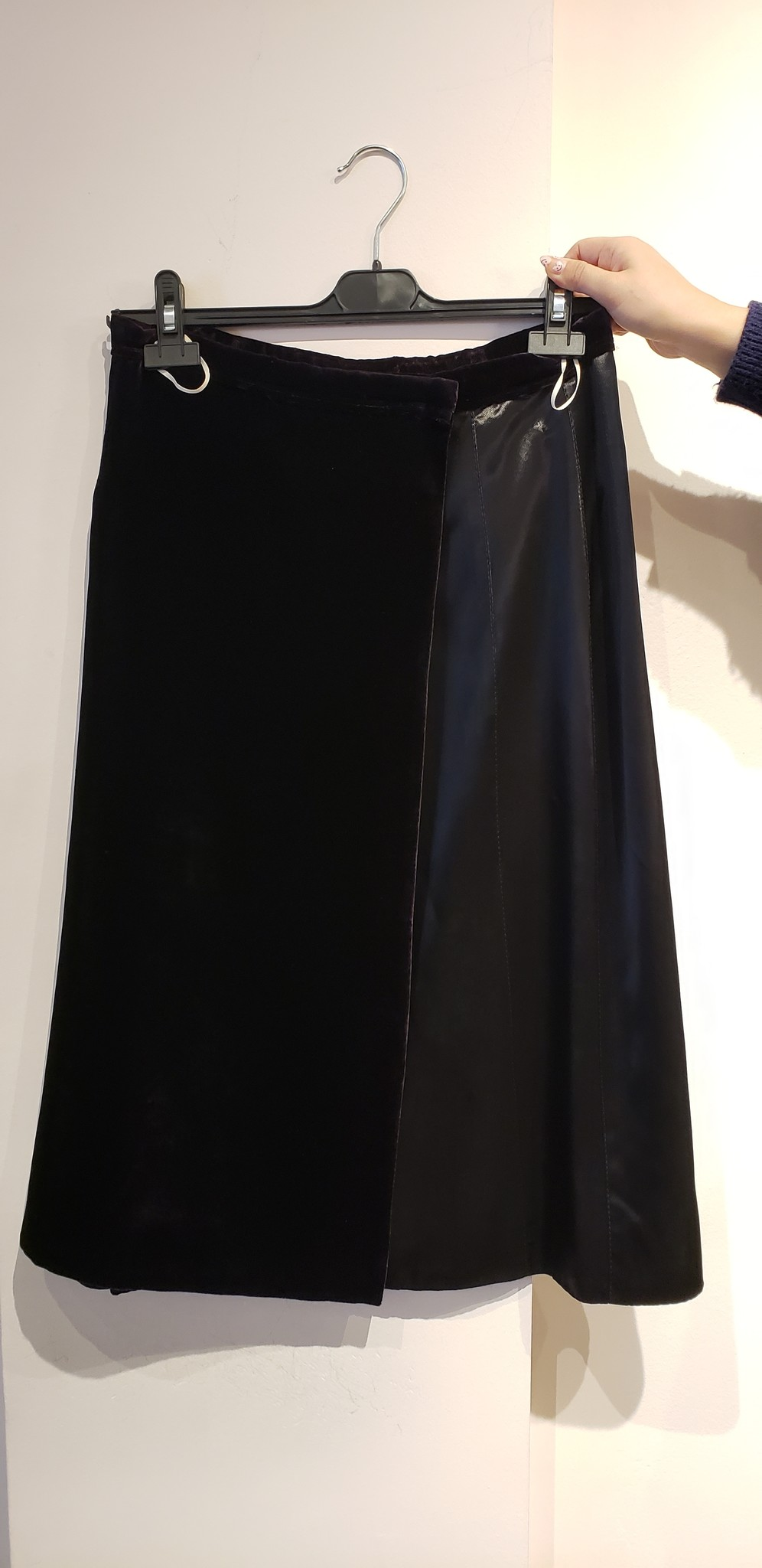 Velvet Skirt - w/silk panel - Sz 44-1