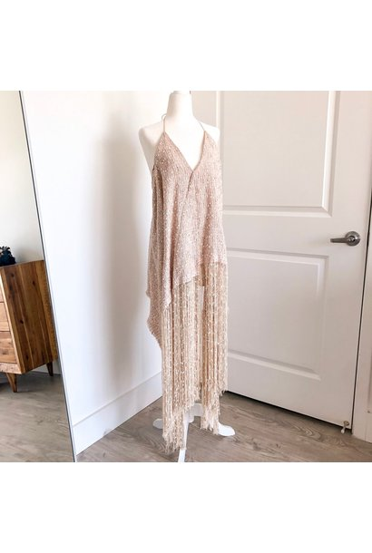 Beige Fringed Mini Dress - Sz. 36