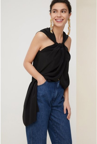 Panel silk top - Blk - Sz 38