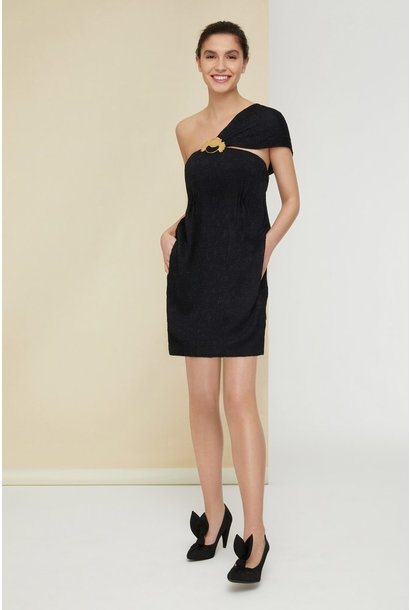 One Shoulder Dress - Blk - Sz 38