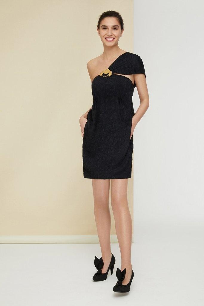 One Shoulder Dress - Blk - Sz 40-1