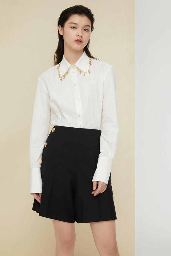 Embellished Cotton Twill Shirt - Sz. 40-1