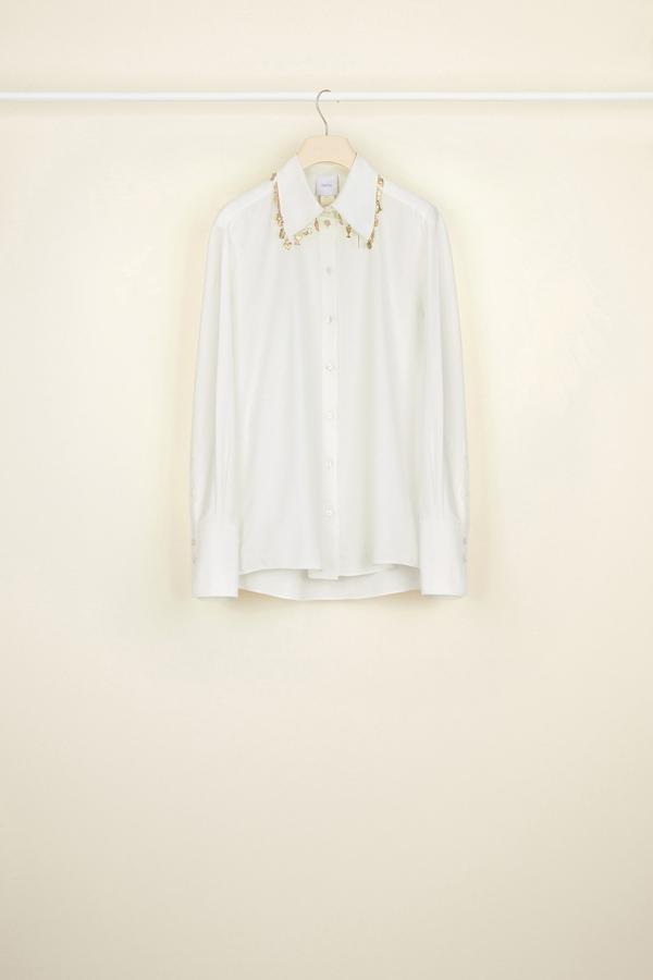 Embellished Cotton Twill Shirt - Sz. 40-2