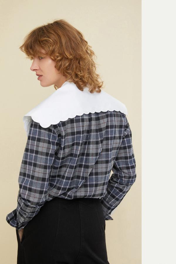 Embroidered Collar Cotton/Wool Shirt - Sz 34-2
