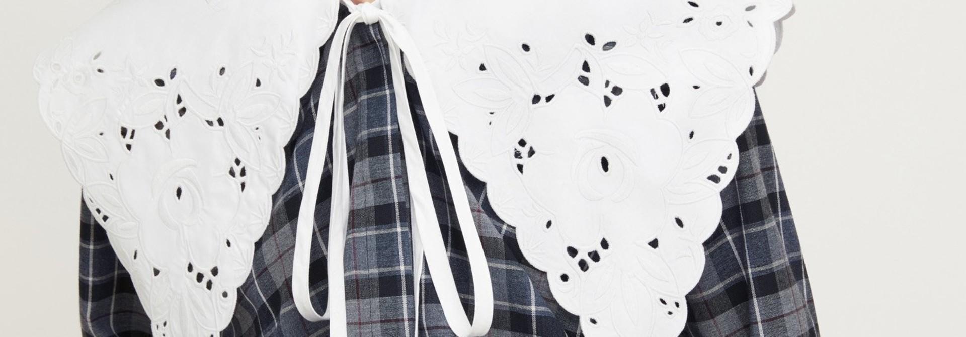 Embroidered Collar Cotton/Wool Shirt - Sz 38