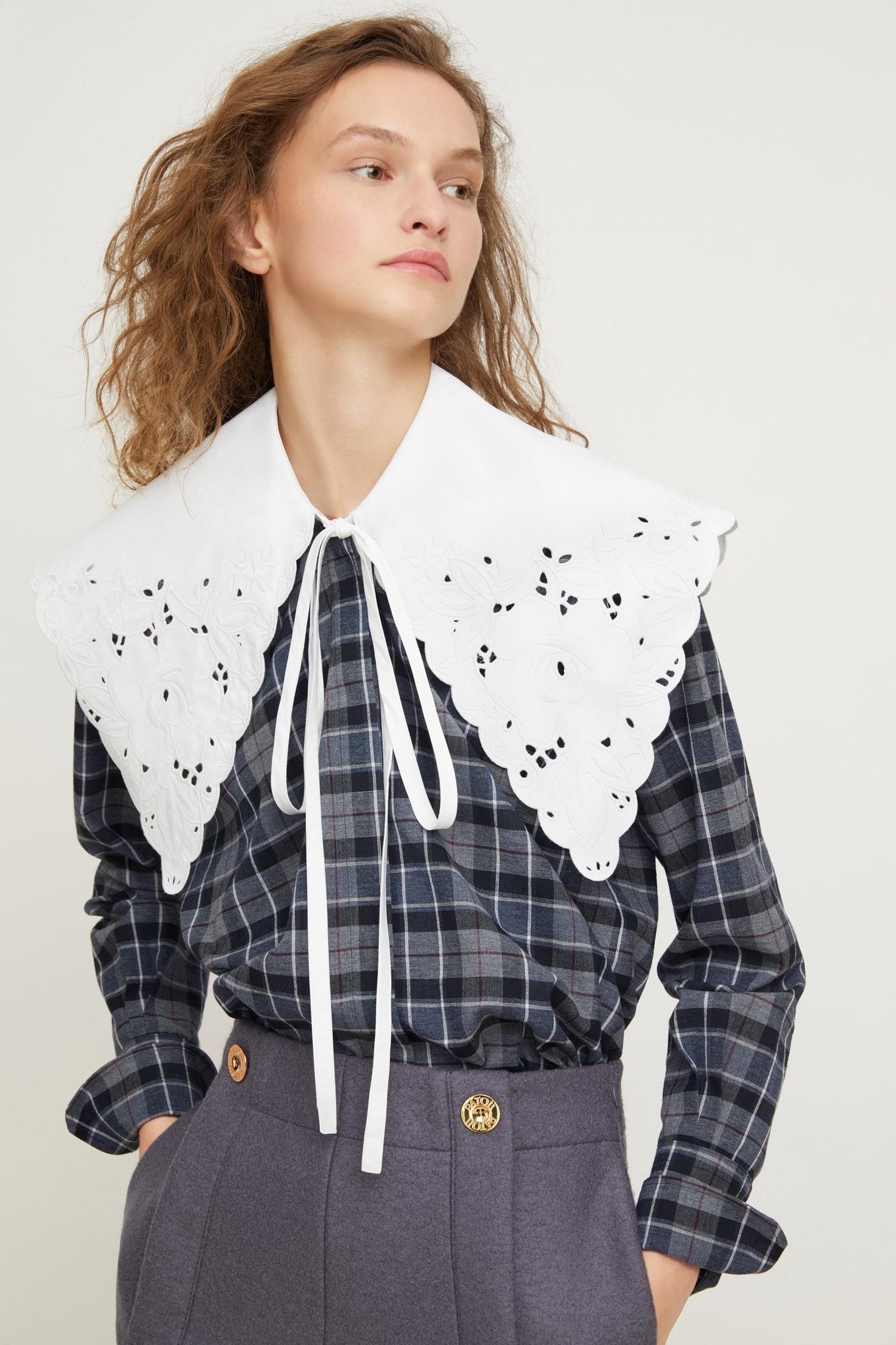 Embroidered Collar Cotton/Wool Shirt - Sz 38-1