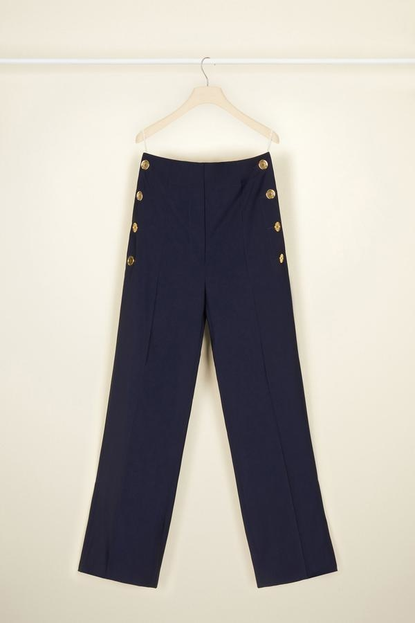 Summer Wool Sailor Trousers - Navy - Sz. 38-1