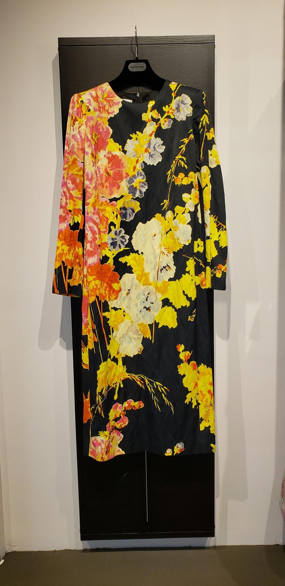 Dress - Blk Flower Print - Sz 40-1