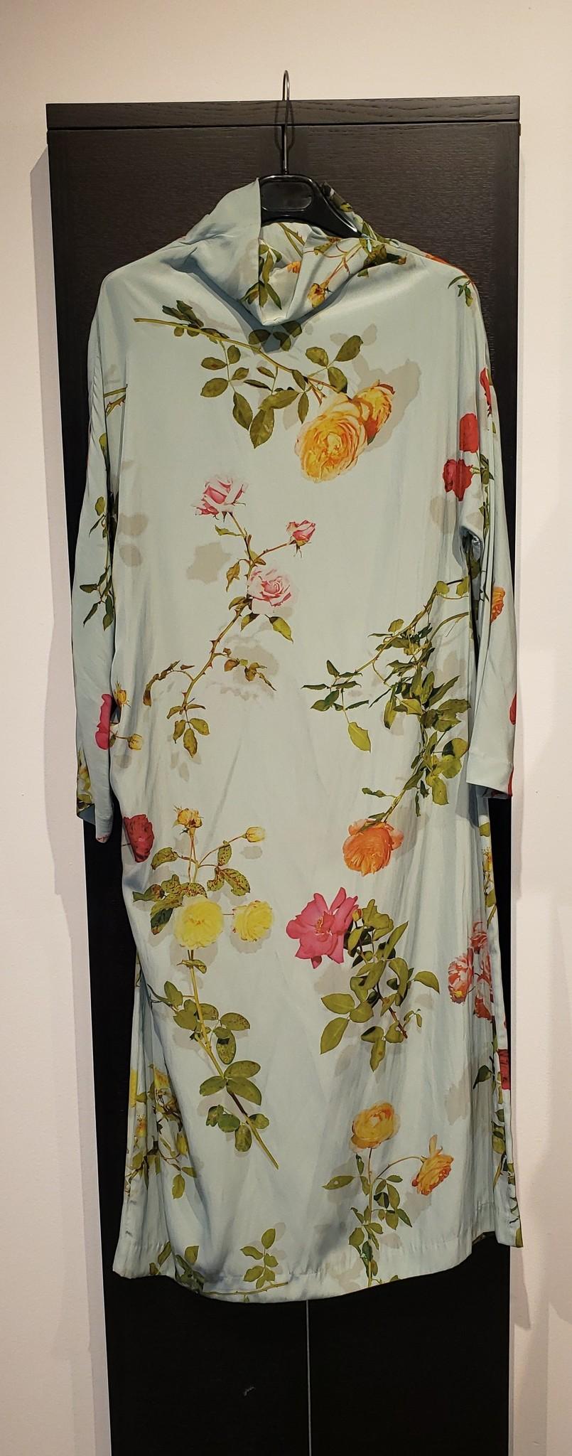 Dress - Flowers Aqua - Sz 40-1